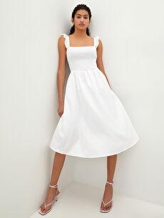 LCW VISION Kare Yaka Askılı Fırfır Detaylı Poplin Kadın Elbise