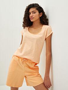 LCW CASUAL U Yaka Düz Kısa Kollu Pamuklu Kadın Tişört