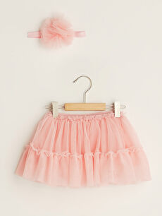 Baby Girl With Elastic Waist Tulle Skirt and Hair Band 2 Pieces
