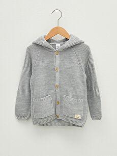 Hooded Long Sleeve Baby Boy Button Closure Knitwear Cardigan