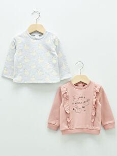 Crew Neck Long Sleeve Printed Baby Girl Sweatshirt 2 Pieces