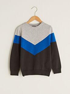 Crew Neck Color Block Long Sleeve Boy Slim Knitwear Sweater