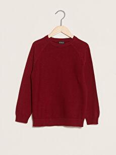 Crew Neck Basic Long Sleeve Boy's Slim Knitwear Sweater