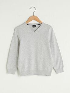 V Neck Basic Long Sleeve Boy's Slim Knitwear Sweater
