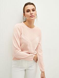 розов LCW BASIC Дамски плетен пуловер с обло деколте