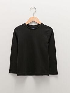 Crew Neck Basic Long Sleeve Cotton Boy Undershirt