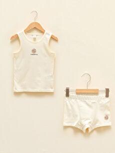Crew Neck Printed Baby Boy Undershirt and Boxer 2-Piece Set