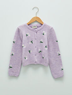 Crew Neck Embroidery Detailed Long Sleeve Girls' Knitwear Cardigan