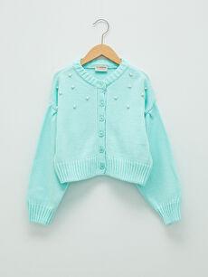 Crew Neck Pearl Detailed Long Sleeve Girls' Knitwear Cardigan