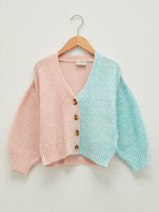V Neck Color Block Long Sleeve Girls Knitwear Cardigan