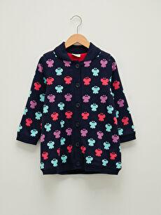 Shirt Collar Patterned Long Sleeve Girl Knitwear Cardigan