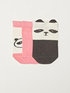 Printed Baby Girl Booties Socks 3 Pieces