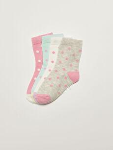 Polka Dot Patterned Baby Girl Socks 4 Pack