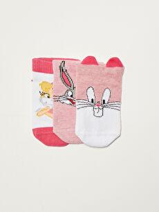 Bugs Bunny Printed Baby Girl Booties Socks 3 Pack
