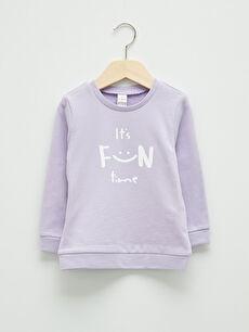Crew Neck Long Sleeve Printed Baby Girl Sweatshirt