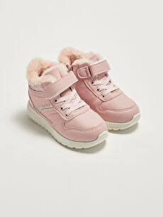 Hook and Loop Fur Lined Girls' Boots