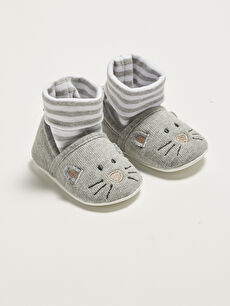 Embroidery Detailed Cotton Lined Pre-Toddler Baby Boy Socks House Shoes