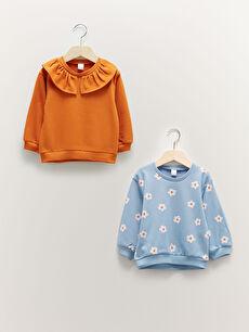 Crew Neck Long Sleeve Baby Girl Sweatshirt 2-Pack