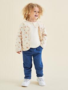 Baby Collar Long Sleeve Embroidery Detailed Baby Girl Sweatshirt
