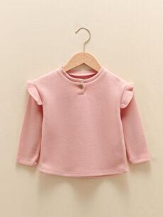 LCW GREEN Crew Neck Long Sleeve Organic Cotton Baby Girl Sweatshirt