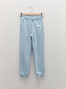 Elastic Waist Printed Girl's Jogger Sweatpants