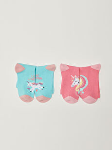 Patterned Girl Socks 2 Pieces