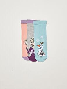 Frozen Patterned Girl's Socks 3 Pack