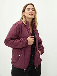 Hooded Collar Straight Long Sleeve Pocket Detailed Women's Raincoat