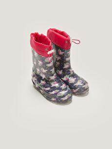 Printed Elastic Lace-up Baby Girl Rain Boot