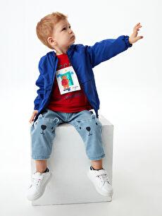 Elastic Waist Printed Baby Boy Jean Trousers