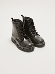 Leather Look Lace-Up Girl's Boot