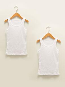Crew Neck Basic Cotton Boy Undershirt 2 Pieces