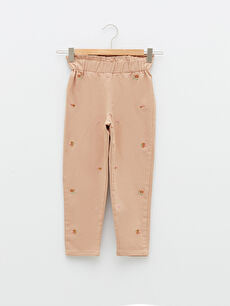 Elastic Waist Embroidered Girl Trousers