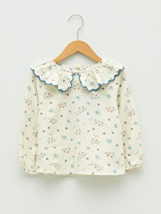 Baby Collar Long Sleeve Patterned Cotton Baby Girl Blouse