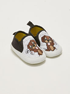 Embroidery Detailed Cotton Lined Baby Boy Pre-Toddler Shoes