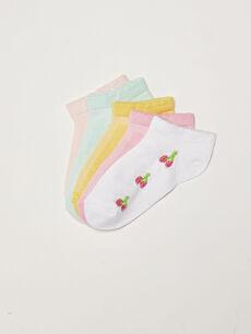 Patterned Girl's Booties Socks 5 Pack