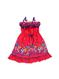 Turuncu Diz Üstü Desenli Elbise