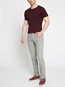 Erkek Gri Pilesiz Pantolon