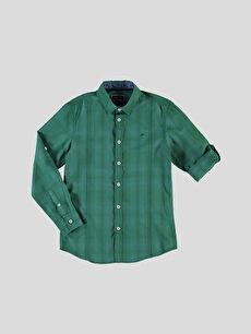 Yeşil Kareli Dar Uzun Kollu Gömlek