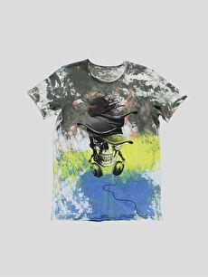 Beyaz Baskılı Normal Bisiklet Yaka Tişört