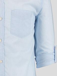 Erkek Mavi Düz Dar Uzun Kollu LCW Young Gömlek
