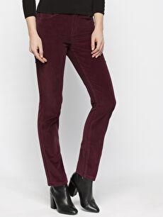 Bordo Yüksek Bel Esnek LCWAIKIKI Basic Pantolon