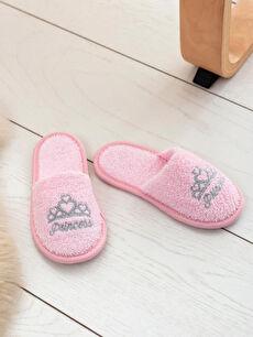 Pembe Kız Çocuk Prenses Nakışlı Banyo Terliği