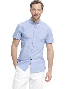 Mavi Düz Dar Kısa Kollu Gömlek