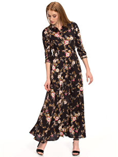 Siyah Çiçek Desenli Elbise