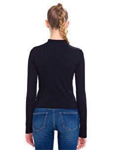 %62 Polyester %2 Elastan %36 Viskoz Dar Tişört Uzun Kol Düz Diğer Choker Yaka Tişört