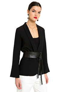 Kol Ucu Yırtmaç Detaylı Oversize Ceket