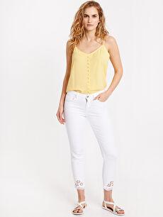 Beyaz Paça Detaylı Bilek Boy Skinny Jean Pantolon 8SD590Z8 LC Waikiki