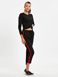 Beli Lastikli Şerit Detaylı Havuç Pantolon