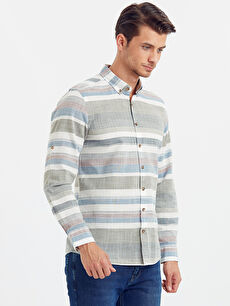 Haki Slim Fit Uzun Kollu Çizgili Poplin Gömlek